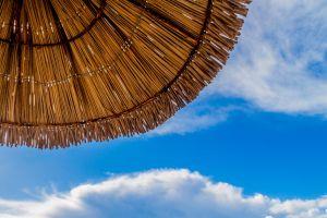 clouds beach hat portugal sky beach shack