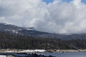 clouds shaver lake trees mountains sierras
