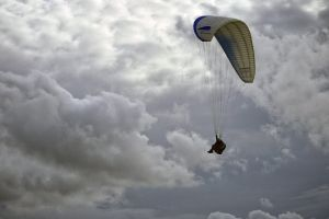 clouds sky paraglider