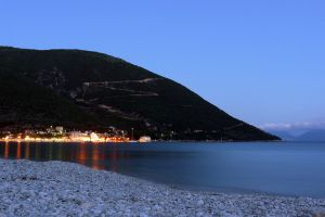 coast dark sea quay bay night scene harbour lights greece