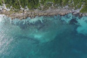 coast rocky sea nature rocks aerial shot ocean water