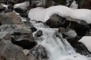 cold rocks water stream snow nature