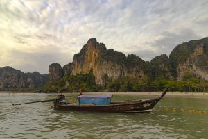 colorful landscaping beautiful boat panoramic view ocean mountain thailand sky clouds
