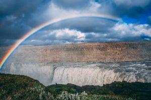 colors rainbow waterfalls cloudy sky blue sky blue water waterfall landscape