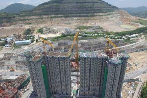 construction site aerial cars architecture trucks buildings crane