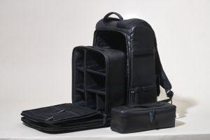 contemporary fashion black handle elegant leather case white background modern