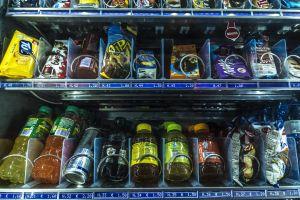 contrast drink food vendingmachine sell day break urban color train