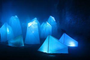 crystal foggy misty lights winter people blue