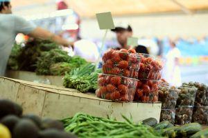 customers market vegetables people fresh