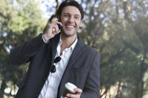 drink man mobile telephone caucasian work outdoor smile park joy
