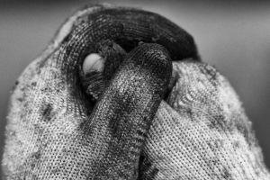 drity cloth work gloves hands working hands