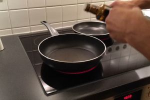 electric stove pan kitchen heat oil meat