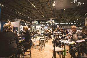 employee indoors furniture people wear working room festival exhibition meeting