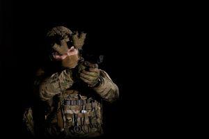 equipment ops danger helmet gun soldier armor spec military dark