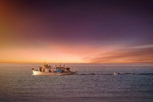 evening ocean transportation system sunset sea boat dawn crew seashore seascape