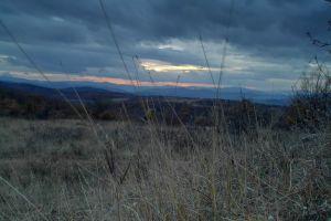 field sunset dark clouds