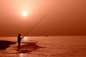 fisherman sunrise seabeach