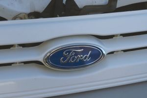 ford white bumper automotive design emblem car
