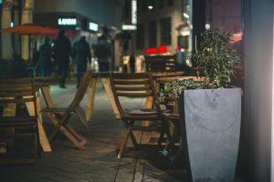 friends pedestrian precinct bar cafe city night weekend