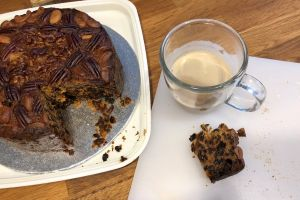 fruit cake slice of cake coffee food cake
