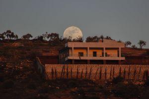 full moon landscape syria moonlight moon night sky blue