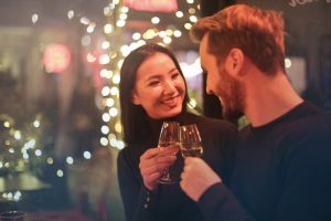 fun funny atmosphere black toast couple wine nightlife young bar