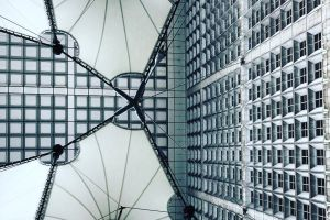 futuristic low angle shot modern indoor steel ceiling glass items building urban architecture