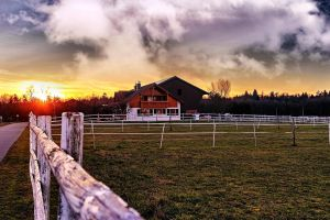 grass fence sky farmhouse clouds sunset barn sunrise farm field
