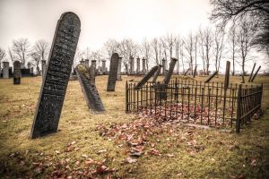 grass fence stones daytime tombstones grave cemetery