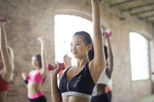 gym smile active motion beauty girl concept strength athlete people