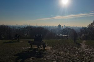 haze london skyline sky parliament hill bench blue sky london