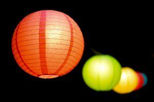 illuminated colourful paper lanterns colorful lights macro