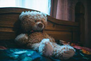 indoors headboard wood curtain room bedroom cute bear soft teddy bear