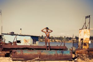 junk body photoshoot person rusty female model container long legs abandoned hot