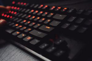 keyboard wireless modern contemporary electronics indoors hand desk blur technology