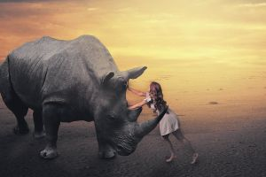 land girl female model rhino sun