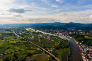 landscape city bavaria mountains aerial view danube drone germany