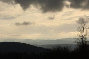landscape mountains tree clouds