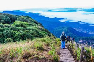 landscape scenic path clouds scenery grass high mountains adventure sight