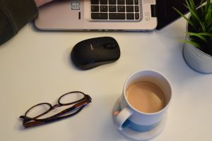 laptop mug cup home office plant work coffee cup desk mouse office