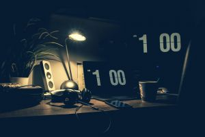 laptop smartphone desk indoors light office illuminated design workplace dark