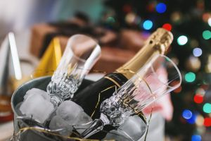 lights blur background colors bucket ice champagne blurred background wine