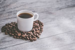 macro coffee coffee cup background flatlay coffee beans