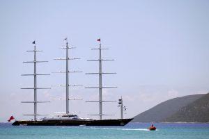 maltese falcon bay greece launch luxury yacht vasiliki sea millionaire opulent