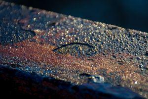 metal rain cold industrial urban railing weathered rust