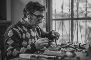 monochrome workshop eyeglasses artisan person working eyewear adult man wear