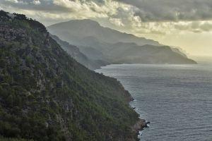 mountain fog mallorca peak range majorca trip sky evening mediterranean
