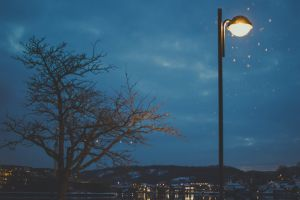 mountain lamp lamp post blue sky tree