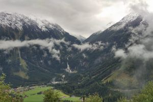 mountains valley waterfall austria