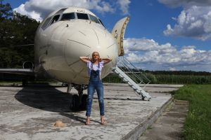 natural sexy mothernature airplane blonde golden dress female model airport sensual body